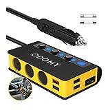 180W Caricabatterie Auto Accendisigari con Display a LED,12V/24V Quick Charge 3.0 USB, Adattatore per Accendisigari a 3 Prese,Caricatore Auto Estensione per Cellulare Accessori Auto Camion