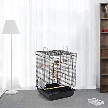 Yaheetech Cage Oiseaux avec Jouet 40 x 40 x 58 cm Cage Oiseau Exotique pour Perruche Calopsitte Inséparable Canari Mandarin Noir