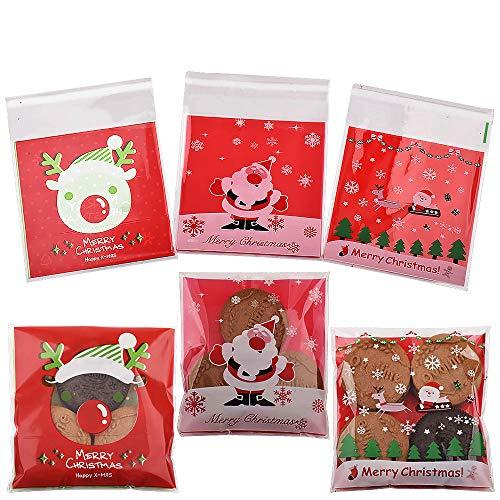 Gudotra 300pz Sacchetti Trasparenti per Caramelle Sacchetti Confetti Plastica con Strip Adesiva per Regalo Caramelle Biscotto Compleanno Natale Halloween
