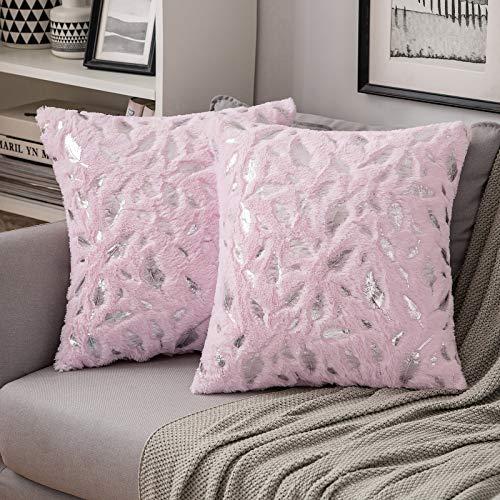 MIULEE 2 Piezas Funda de Cojines Plumas Estampadas Plateadas Funda de Almohada Suave Cómoda para Sofá Cama Decorativas Modernas Preciosas para Sillas Dormitorio Habitacion 45x45cm Rosa