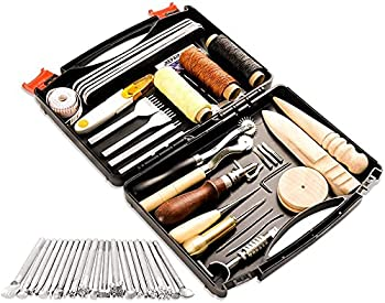 Bulipu 50 Pieces Leathercraft Tools and Supplies with Leather Tool Box Prong Punch Edge Beveler Wax Ropes Needles Perfect for Stitching Punching Cutting Sewing Leather Craft Making