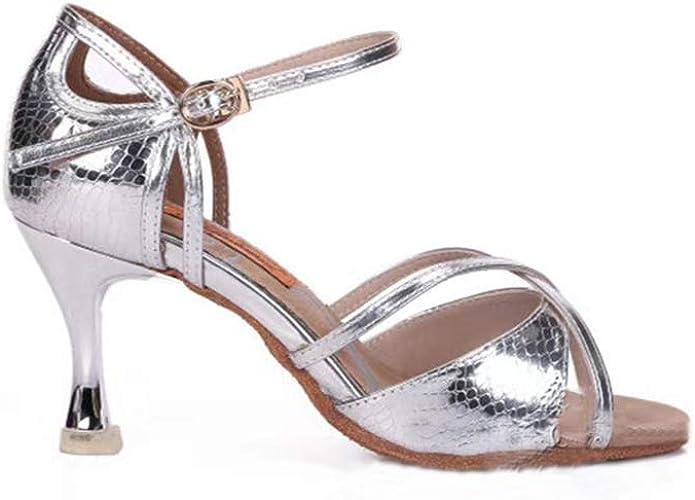 Chaussures De Danse Latine Argent Compétition TempéraHommest Professionnel Confortable Antidérapant Porter Femmes Enfants Adultes, Eu34, argent7.6Cm