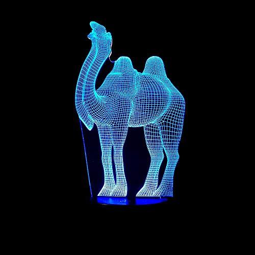 wanmeidp Kinder Cartoon Tier LED Nachtlicht 3D Vision Licht Kamel Touch Tisch mit 7 Farbwechsel Schlafzimmer Verstärker