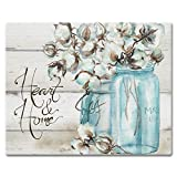 CounterArt 15 by 12-Inch Glass Cutting Board, Heart and Home-Mason Jar with Cotton