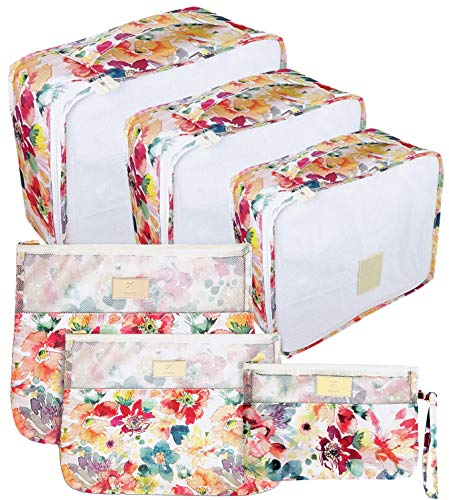 EVEK Packing Cubes for Travel Luggage Organizers for Suitcase Different Size (Bright 6)