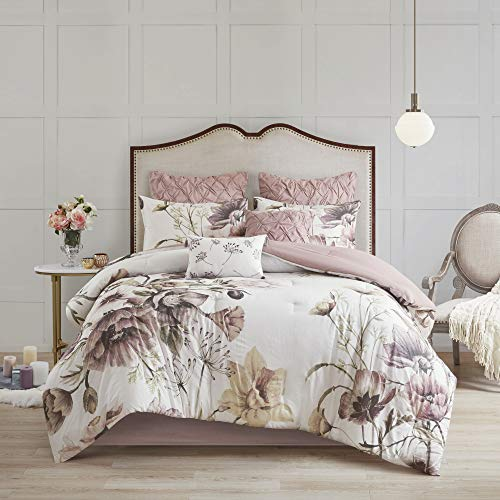 "Madison Park 100% Cotton Comforter Contemporary Floral Design All Season Set, Matching Bed Skirt, Decorative Pillows, Queen(90""x90""), Blush"