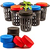 30 Pack Cloning Collars Inserts + 10 (2 inch) Net Pots Made of Premium Grade EVA Foam Mixed Colors Fits 2 inch Net Pots Cups for Hydroponics Plant Germination in DIY Cloner & Clone Machines