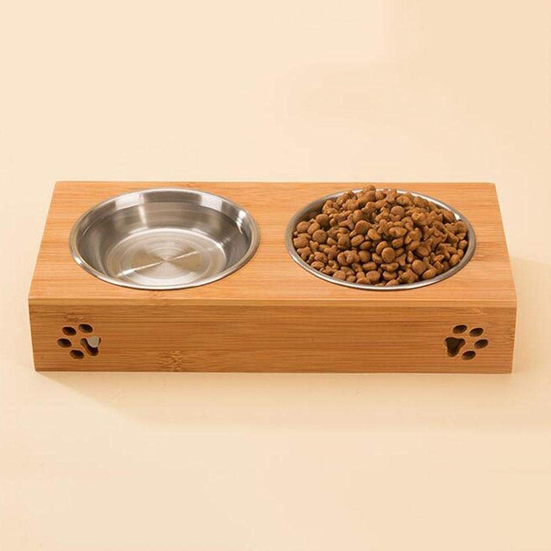 QWER Bamboo Bowl shelf Dog bowl stainless steel Food basin Cat bowl pet Supplies