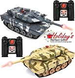 "Click N' Play RC Battle Tank Infrared Full Size 15"" Tanks with LED Indicators Rotating Turret Detailed Designed Realistic Lights and Sounds Single and Multi-Player Modes (Set of 2) (CNP4808)"