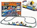 BSD Ferrocarril para Niños - Set de Tren Eléctrico de Juguete con Portador de Auto - 68 Piezas