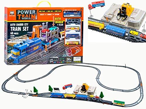 BSD Grand Circuit de Train Électrique Chemin de Fer avec Loader de Voiture - 68 pièces