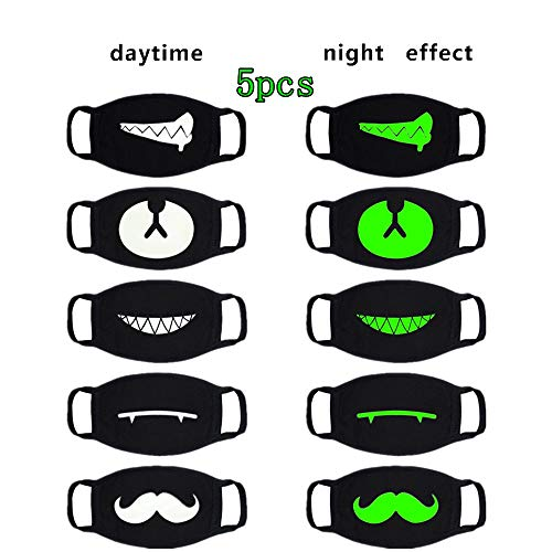 Fisstina 5 Pcs Unisex Cotton Luminous Mouth Mask Anti dust Cycling Face Mask for Halloween Cosplay Christmas Birthday Party (Black)