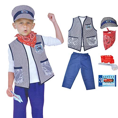 Swide Costumes Baby's Train Engineer Toddler Costume Childrens Conductor Accessory Set With Cap And Accessories Best Children's Days Gift For Girls And Boys gorgeously