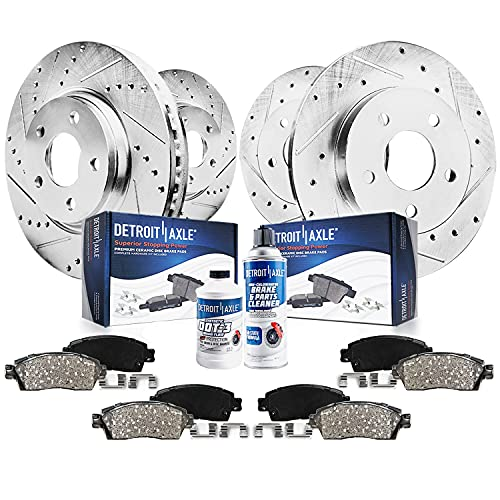 Detroit Axle - All (4) Front and Rear Drilled and Slotted Brake Kit Rotors w/Ceramic Pads for 2004 2005 2006 2007 2008 Acura TL with Automatic Transmission ONLY, Will Not Fit Brembo