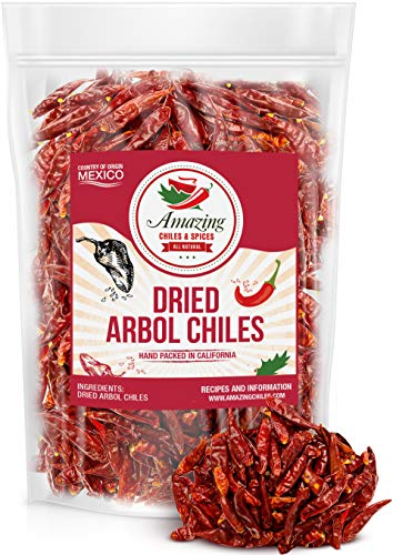 Chile De Arbol 5oz - Dried Whole Red Chili Peppers, Premium All Natural Stemless, Resealable Bag. Use in Mexican, Chinese and Thai Dishes. Spicy Hot Heat Full of Flavor.…