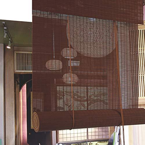 Persiana Enrollable de bambú Cortinas Opacas, 85% de tasa de sombreado, Cortina de bambú Transpirable Anti UV, Persianas de privacidad para Jardines/Balcones/Ventanas, Tamaño Personalizable