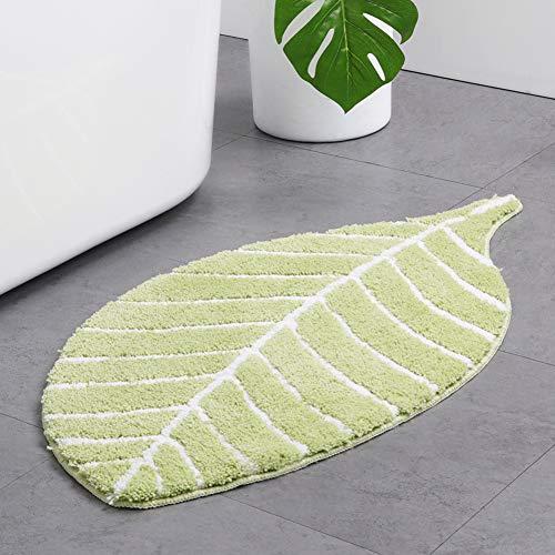 KKLTDI rutschfest Blätter Design Badematte, Mikrofaser Chenille Hochflor Badteppich Absorbent Badvorleger Für Schlafzimmer Toilette-grün 95x50cm(37x20inch)
