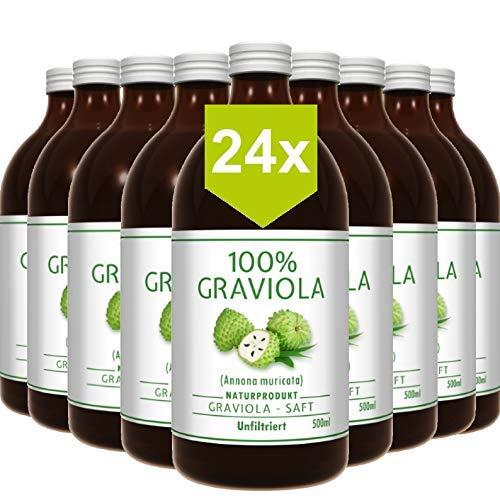 24 x 100% ZUMO DE GUANÁBANA - sin filtrar y vegano (24 x 500 ml), hecho de puré de graviola al 100%. Compra ventaja. Graviola. Soursop. Corossol. Stachelannone.
