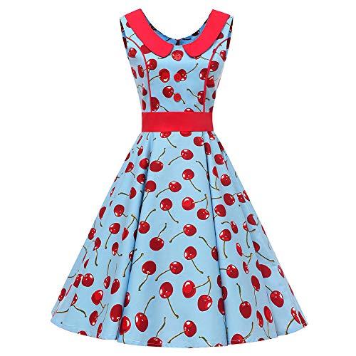 SXSHUN Vestido Retro Años 50 para Mujeres Vestido Vintage Rockabilly Polka Vestido Años 60 sin Mangas Cuello Redondo, Azul/Cereza, S
