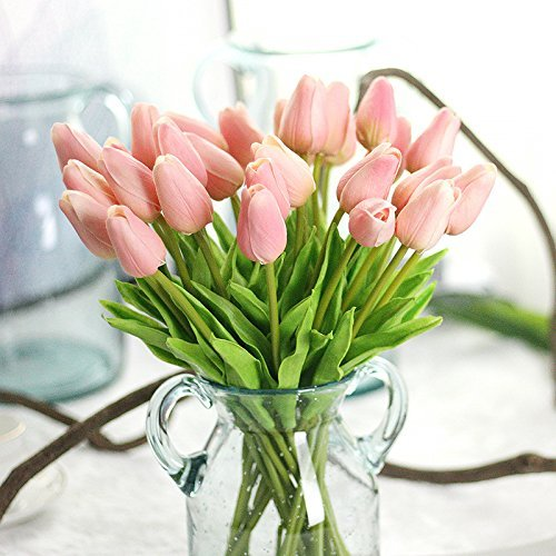 Bringsine Premium Artificial Flowers Real Touch Mini PU Tulips Bouquet Artificial Plants for Wedding Room Home Hotel Party Event Christmas Decor Set of 10, Love Pink