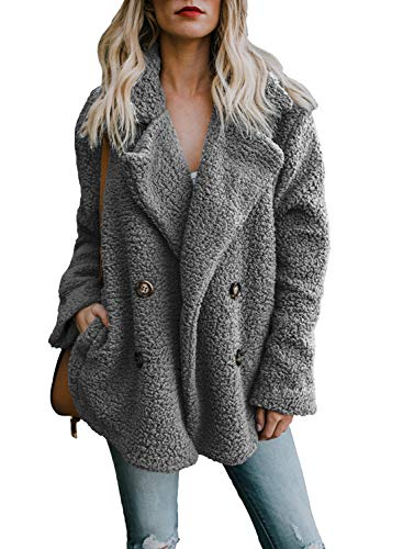 Dokotoo Womens Fashion Jackets Winter Cozy Warm Fashion Casual Oversized Long Sleeve Open Front Fuzzy Coat with Pockets Sweater Cardigans Fluffy Outerwears Grey Medium