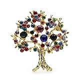 Broches para Mujeres, Árbol De La Vida Design Broches Banquete Traje Bufanda Pines, Pin Multicolor Rhinestone Crystal Lapel (Metal color : Gold)