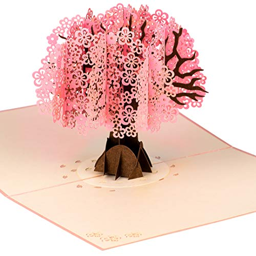 Cherry Blossom Tree by DEVINE Popup Cards | Happy Wedding Anniversary Card for Wife Husband Mom Dad | Romantic 3D Valentines Day Card Girlfriend Boyfriend |Pop Up Birthday Card for Women |Love Gifts