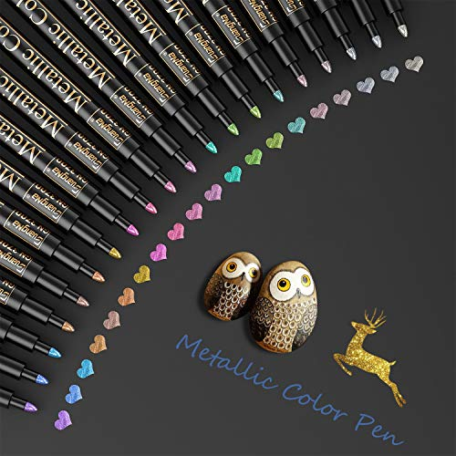 Baozun Metallic Marker Pens, 20 Farben Metallic Stifte für Gästebuch Hochzeit/Geburtstag, Fotoalbum Schwarze Seiten, Scrapbook