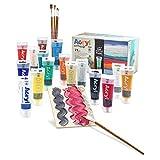 PRIMO Mega Box Acryl 15 Colori acrilici, 1 Pasta strutturante Grana Grossa x 75 ml, 2 cartoncini telati, 5 pennelli Sintetici, Multicolore, Tubetto