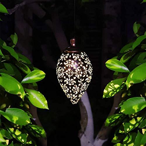 LYEAA Luces colgantes solares, linterna en forma de oliva, lámpara de arte de hierro impermeable, lámpara LED de jardín decorativa para exteriores, patio, patio, patio, camino