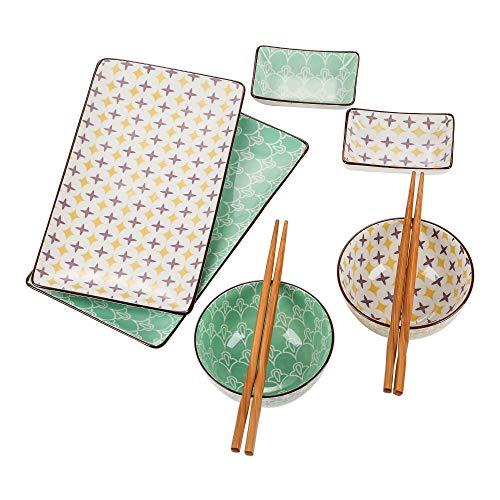Vancasso Sushi Set, Tulip Serie japanische ESS Service, 8-teilig Geschirr-Set, sushu Tellerset für 2 Personen