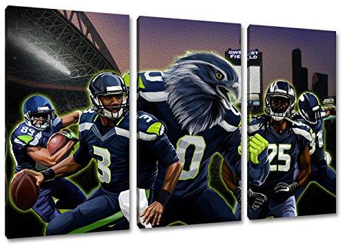 Seattle Football, Fan Artikel Leinwandbild 3Teiler Gesamtmaß 120x80cm, Auf Holzrahmen gespannt, Kein Poster oder billig Plakat, Must Have für echte Fans