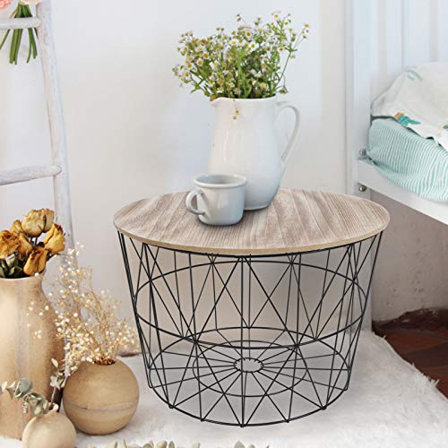 Wakects Side Table Coffee Table Living Room Table MDF Coffee Table with Removable Tray Geometric Tray Table with Storage Space 61.5 x 40.5 x 50 cm