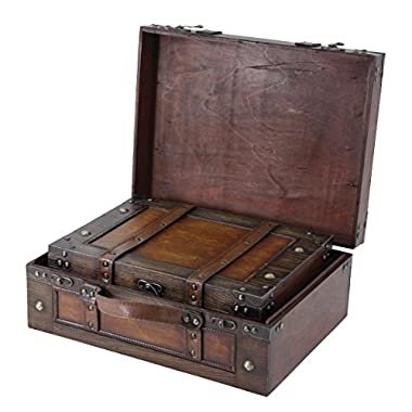 Vintiquewise TM Old Style Suitcase/Decorative Box with Straps, Set of 2
