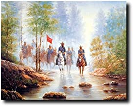 Western Wall Decor Civil War Grey Soldier On Horses Country Art Print Poster (16x20)
