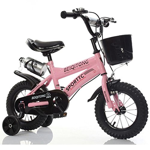 Children's Bicycle 12|14|16|18|20 Inches Outdoor Child Baby Kid Mountain Bike Boy's Girl's Gift for 2-11 Years Old with Black Training Wheel | Plastic Basket | Water Bottle Safe Damping Pink