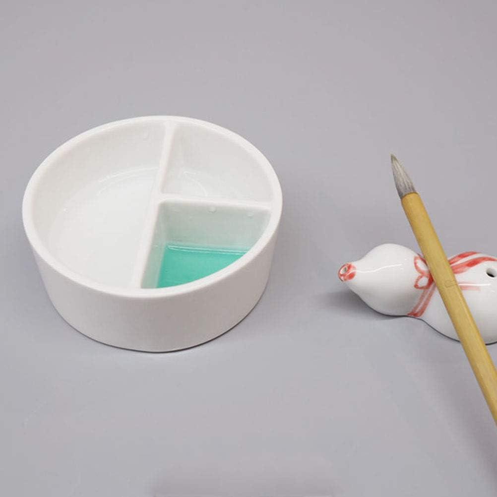 tiefes Aquarellgem/älde Lzttyee Porzellanpinsel mit Pinsel R/ührsch/üssel Round 3-Grid Waschsch/üssel