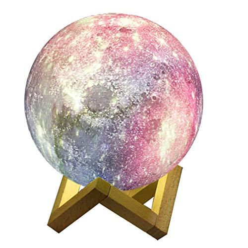 Abcsea Sterrenhemel Lamp met 7 Kleuren, Comfortabele Maanlamp met Standaard, Romantisch Maanlicht Nachtlampje, 12 cm Sterrenhemel Nachtlampje