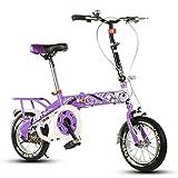 Bicicleta Plegable para niños, 12-14-16-20 Pulgadas para niños y niñas Bicicleta para niños 6-8-10-12 años Cochecito de bebé (Color : Purple-A, Tamaño : 20 Inch)