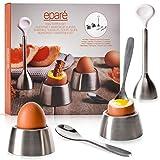 Egg Cracker Topper Set - Complete Soft Boiled Egg Tool Set - Includes Egg Cups Cutter & Spoons -...