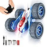 BLUEJAY Remote Control Car, RC Stunt Car 360° Flips Double Sided Rotating 4WD 2.4Ghz, RC Cars with Sharp Dual-Color Headlights, Great Birthday Xmas Gift for Boys Girls 3 4 5 6 7 8-12 Years Old - Blue