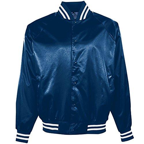 Augusta Sportswear Damen Augusta Satin Baseball Jacke/Gestreifter Rand, Damen Herren, Jacke, Augusta Satin Baseball Jacket/Striped Trim, Marineblau/weiß, Small