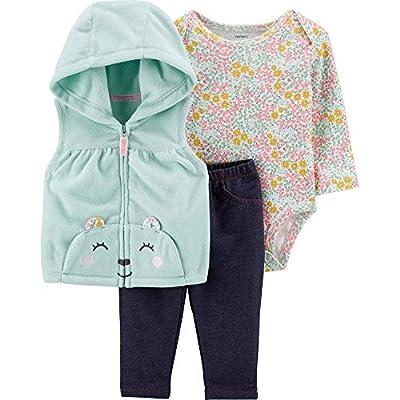 Carter's Baby Girls' Vest Sets (12 Months, Blue/Pink Little Bear)