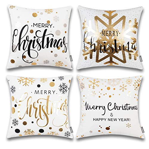 ONWAY Xmas Decoration Gold Snowflakes Merry Christmas Soft Velvet Throw Pillow Covers 18 x 18 (Set of 4, Gold Foil Xmas White)