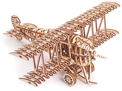 Puzzle 3D Madera - Avión biplano con movimiento mecánico