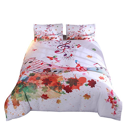 YOUSA Modern Watercolor Duvet Cover Set Musical Notes in Watercolors Style White Backdrop Print Bedding Sets (Queen,Music Note)