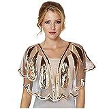 Keland - Camisa de mujer con lentejuelas brillantes para noche, chal de noche, camisa, bufanda, fiesta de boda Dorado A-oro. Taille unique