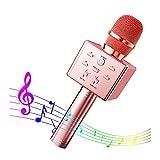 CHSG Microphone Karaoke Sans Fil, Micro Karaoké Bluetooth Portable Avec Lecteur Enregistreur, Micro à Main Portable Haut-Parleur Pour Enfants/Adultes Pour Appareil Intelligent Android/Ios (Or rose)