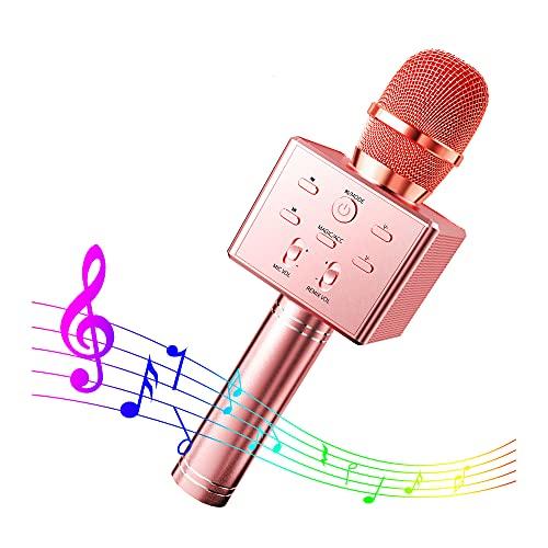 CHSG Micrófono Inalámbrico Bluetooth Karaoke, Más Bajo, Compatible Con Android/Ios/Pc/Aux O Teléfono Inteligente, Infantil Portátil De Mano Speaker Machine Birthday Home Party (Oro Rosa)