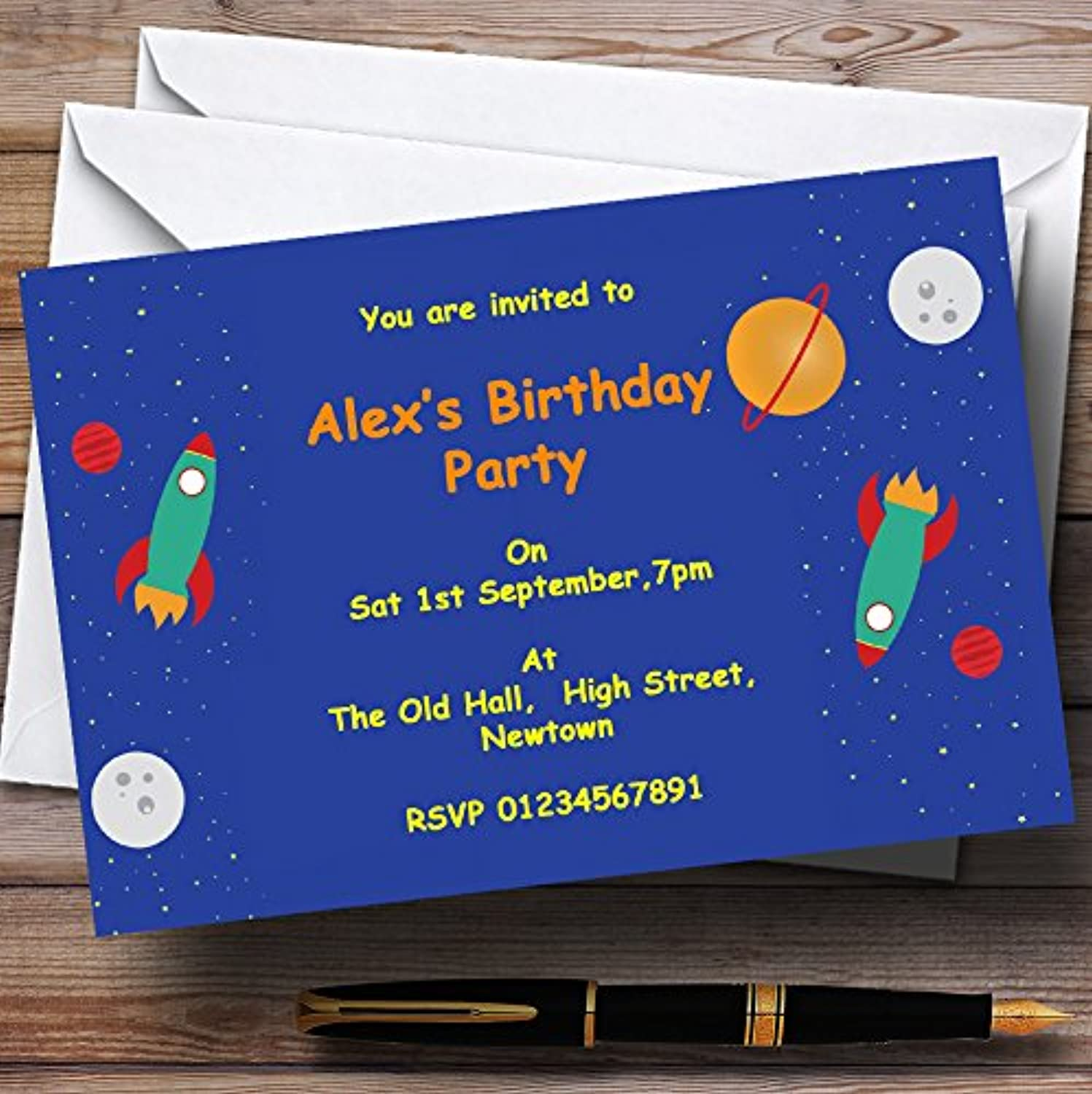 Outer Space Rocket bluee Personalised Birthday Party Invitations   Invites & Envelopes